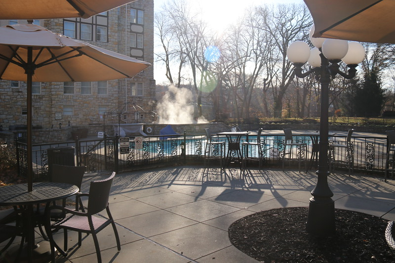 heated outdoor pool with seating