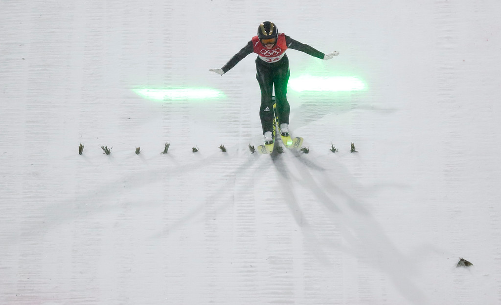 . Katharina Althaus, of Germany, lands during the women\'s normal hill individual ski jumping competition at the 2018 Winter Olympics in Pyeongchang, South Korea, Monday, Feb. 12, 2018. (AP Photo/Matthias Schrader)