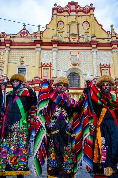 The Parachico dancers and Catedral de San Cristóbal de las Casas, mexico