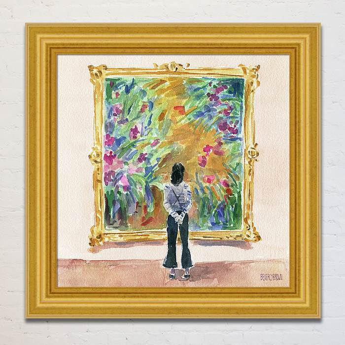 Monet's garden art print with custom framing by Beverly Brown. This French garden art print was inspired by a museum visitor gazing at a painting of Monet's garden in Giverny, France. - www.beverlybrown.com