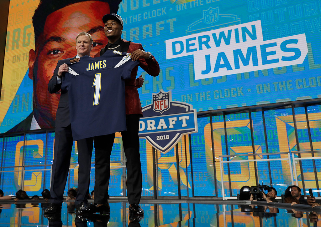 . Commissioner Roger Goodell, left, presents Florida State\'s Derwin James with his Los Angeles Chargers team jersey during the first round of the NFL football draft, Thursday, April 26, 2018, in Arlington, Texas. (AP Photo/David J. Phillip)