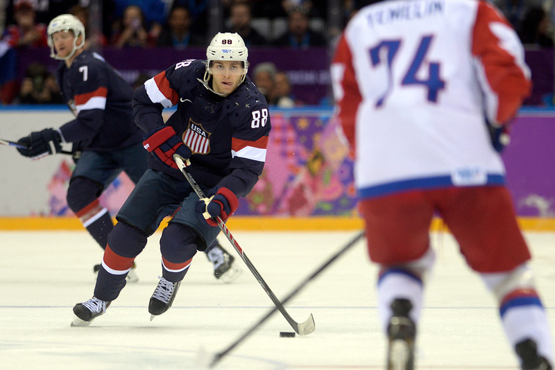 . Patrick Kane (88) of the U.S.A. brings the puck up the ice against Russia during the first period of men\'s hockey action at Bolshoy arena. Sochi 2014 Winter Olympics on Saturday, February 15, 2014. (Photo by AAron Ontiveroz/The Denver Post)