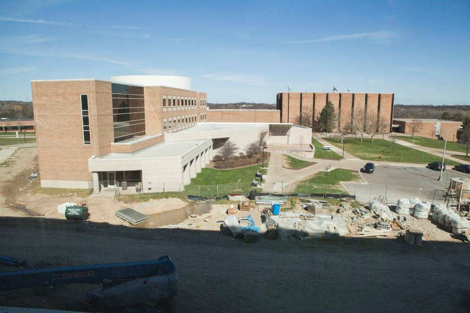 Description of . A view from Elliott Hall from the engineering building. (Photo by Jason Willis/Oakland University)