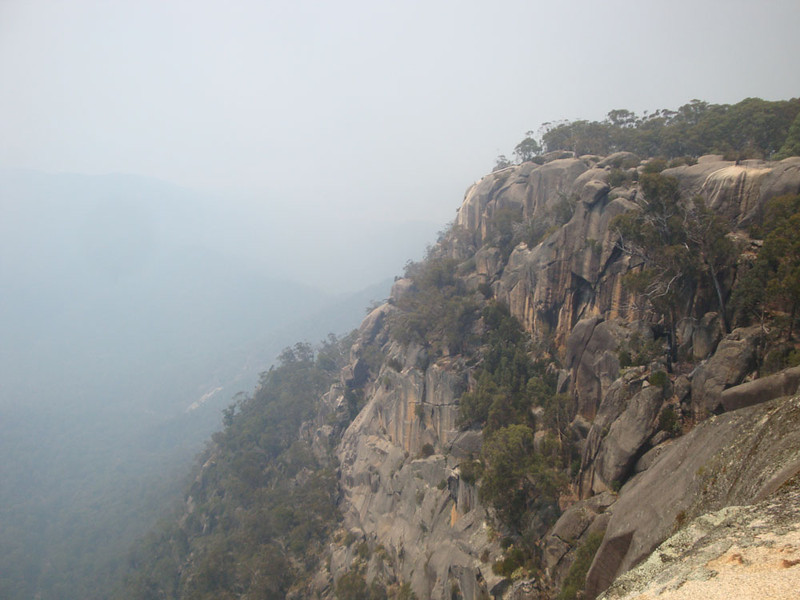 The cliffs of Mt Buffalo (also close by) - a wonderful table-top mountain about 20 km long, rising about 1,000 m above the plains.