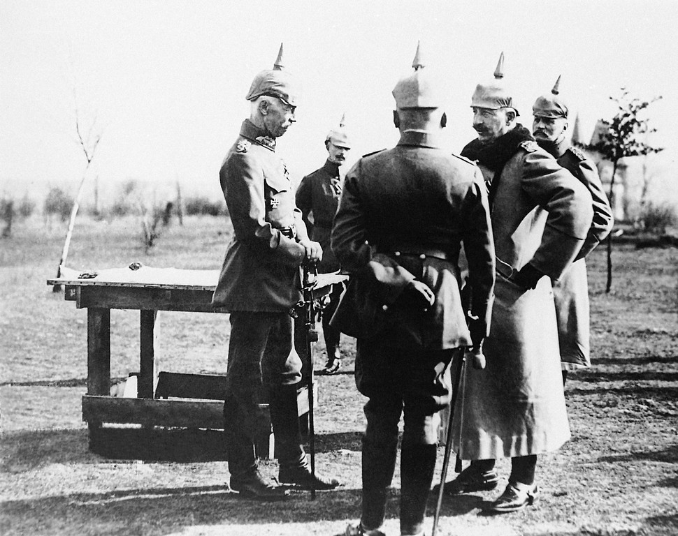 . German officers discussing troop movements, near the Western Front. (AP Photo)
