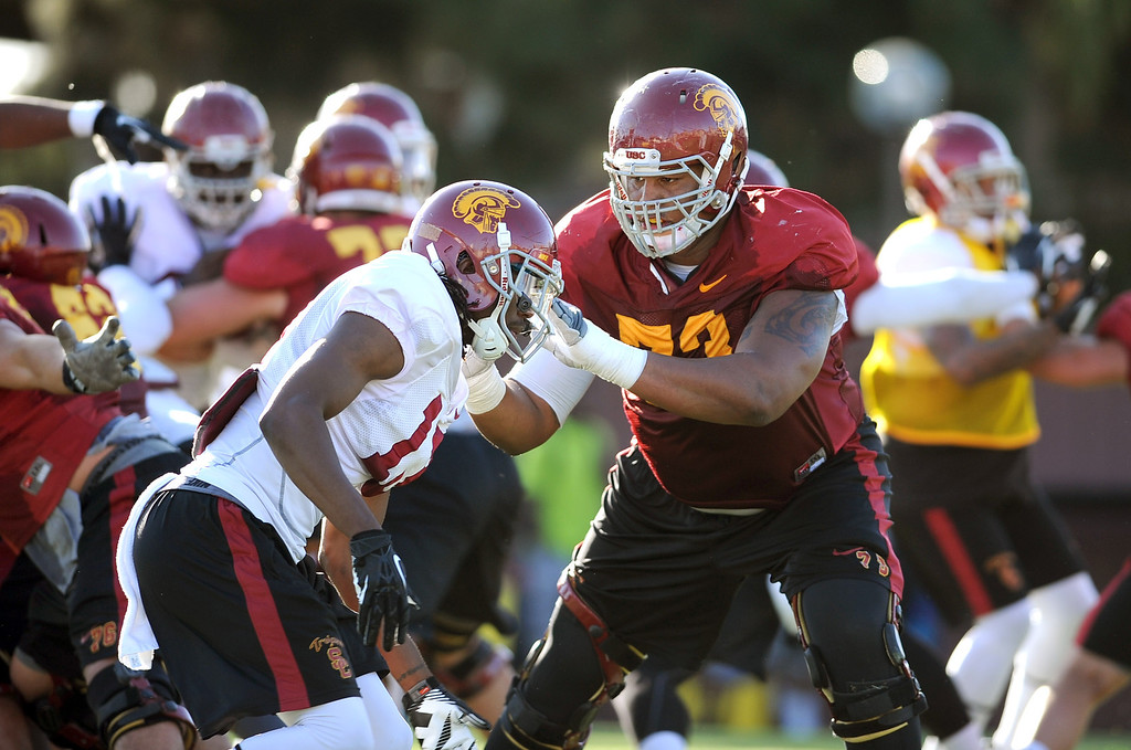 . USC players during spring practice Monday, April 1, 2014. (Andy Holzman/Los Angeles Daily News)