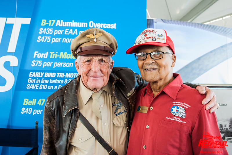 Colonel Charles McGee, Tuskegee Airman, meets Staff Sgt. Doug Ward, a B-17 ball turret gunner at Oshkosh 2015.
