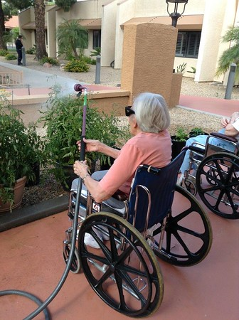 Care Center residents gardening