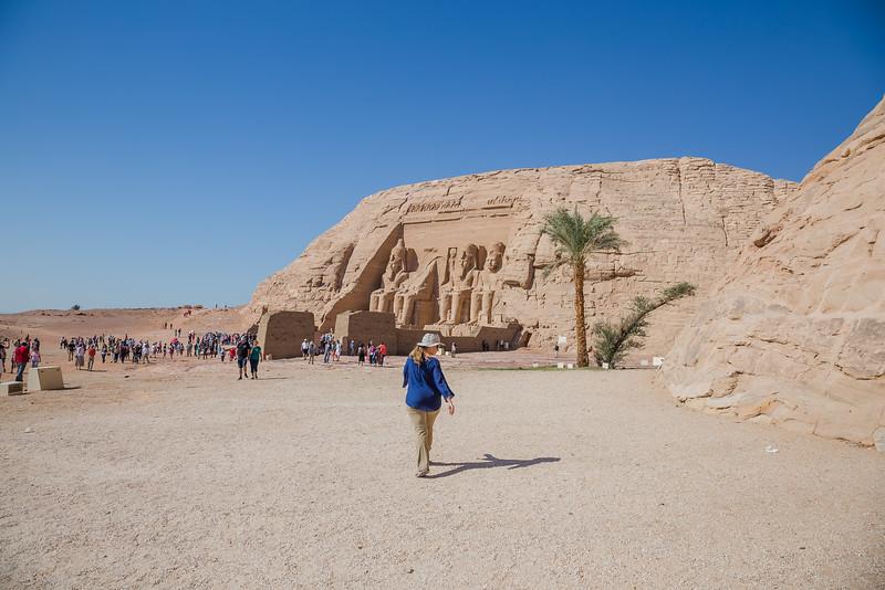 Lina Stock of Divergent Travelers Adventure Travel Blog at Abu Simble Temple, Egypt