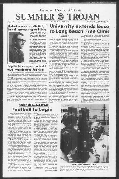 Summer Trojan, Vol. 63, No. 15, August 18, 1971