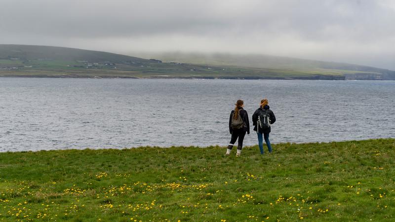 Tourists at coast, North Atlantic Ocean, Downpatrick Head, Killala, Wild Atlantic Way, West Coast, Republic of Ireland