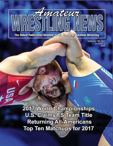 Amateur Wrestling News Cover, Sept, 2017