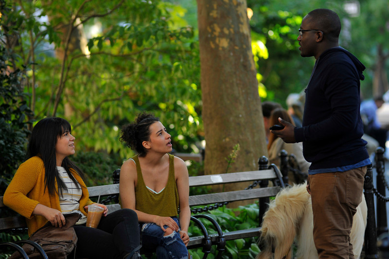 ". Abbi Jacobson, Ilana Glazer, Hannibal Buress (l-r) ""Broad City.\"" (Photo by Walter Thompson)"