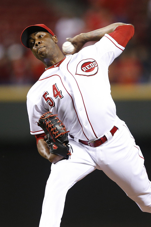 . Aroldis Chapman #54 of the Cincinnati Reds pitches the ninth inning against the Colorado Rockies during the game at Great American Ball Park on June 3, 2013 in Cincinnati, Ohio. The Reds won 3-0. (Photo by Joe Robbins/Getty Images)