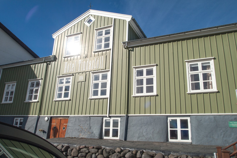 Hotel Tindastoll in Saudarkrokur.  This is the  hotel where we stayed the nnight of the 19th.  This is the oldest hotel in Iceland.  It is a  timberframe building shipped to Iceland from Norway in the early 1800's and then  relocated several times in the 1800's before it became a hotel.