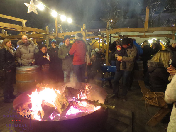 Getting warm by the fire pit in Mainz