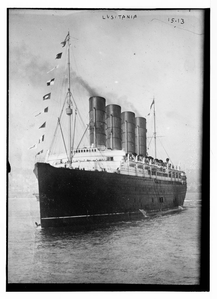 . LUSITANIA - bow and portside, out in harbor.  Bain News Service.  Library of Congress