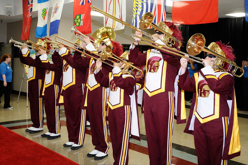 . June 22,2013 Los Angeles CA. The USC marching band performs during  the opening of the National Braille Challenge. These finalists were chosen from among more than 1000 blind and visually impaired students�representing 39 states and two Canadian provinces�during the preliminary round at Regional Braille Challenge events across the U.S. and Canada. They are a diverse group of high achievers�athletes, musicians and technology whiz kids. Most of them were born blind, but others lost their sight due to cancer or viral infections. They will be competing for up to $2500 in cash prizes, trophies and the latest adaptive equipment�including a Focus Blue 40 refreshable Braille display provided by Freedom Scientific, as well as an iPad sponsored by Palmer Langdon, to help connect them to the digital world.   Photo by Gene Blevins/LA Daily News