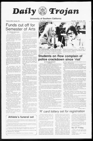 Daily Trojan, Vol. 67, No. 96, March 20, 1975