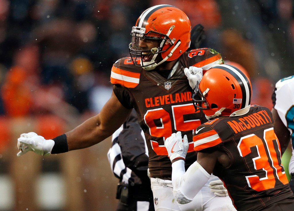 . Cleveland Browns defensive end Myles Garrett (95) celebrates after recovering a fumble in the second half of an NFL football game against the Jacksonville Jaguars, Sunday, Nov. 19, 2017, in Cleveland. (AP Photo/Ron Schwane)