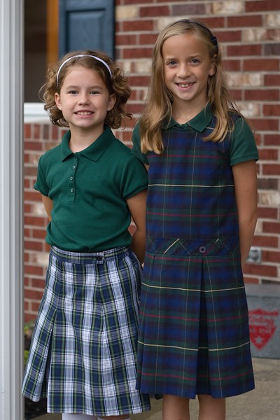 Abby and Lilly on first day of school 2015