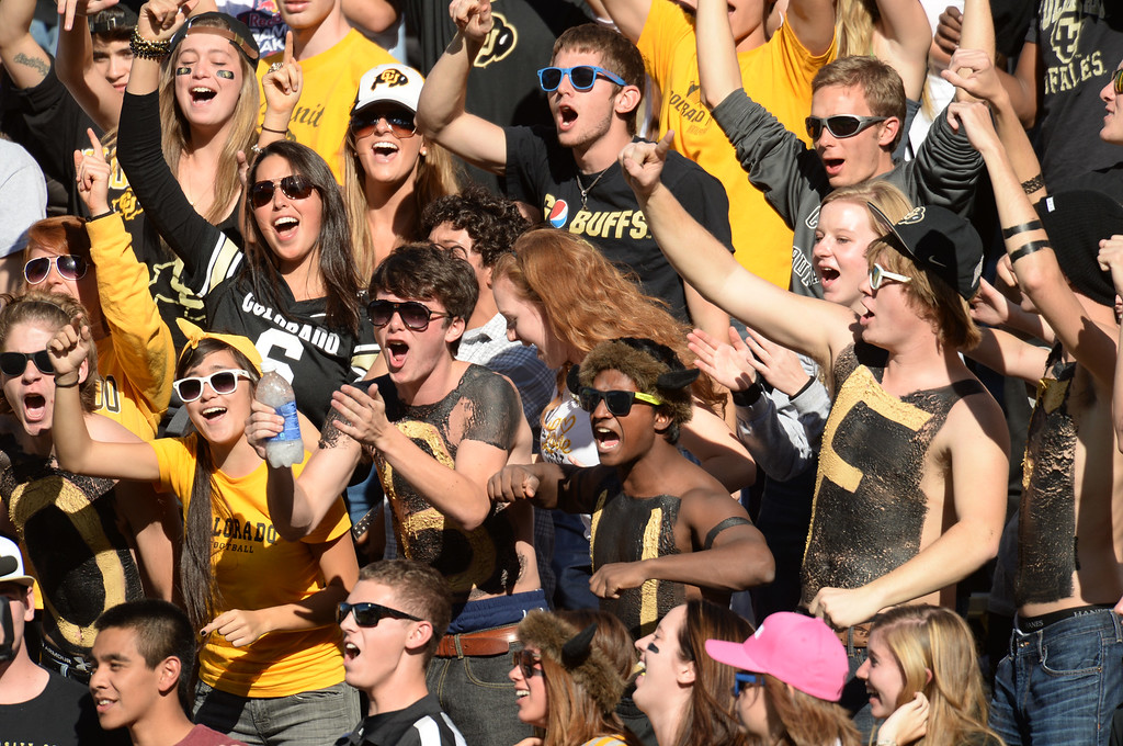 . University of Colorado fans cheer the team during the game against University of Oregon at Folsom Field. Boulder, Colorado. October 5, 2013. Oregon won 57-16. (Photo by Hyoung Chang/The Denver Post)
