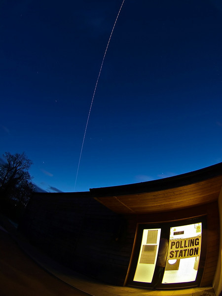 May 6 2010. British voters hit the polling stations, as does the ISS. The Polling Station in Walcote, Lutterworth, Leics had an visitor from outer space! The International Space Station (ISS) flew in to cast its vote, just at the right time. Quite a lucky capture to get it all coming together at the right time plus clear skies! The ISS is mega bright in the skies atm. It is the biggest, brightest object orbiting earth and only the sun and moon are brighter objects. It is as wide as a football field. Captured with Olympus E3 8mm lens.