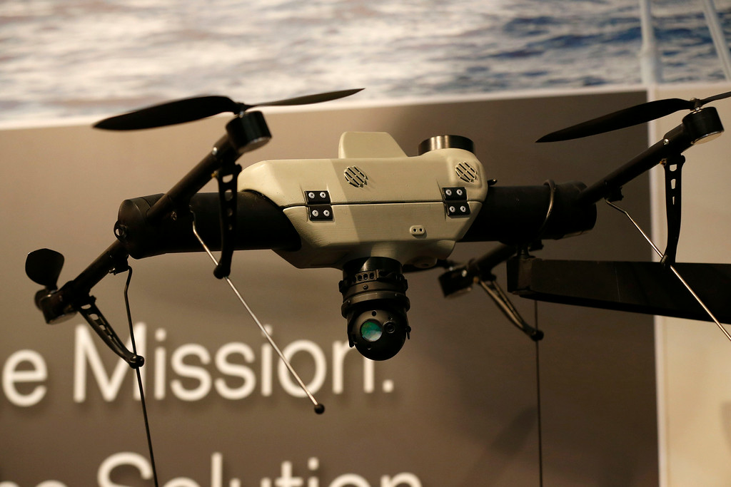 . An AeroVironment Shrike vertical take-off and landing small unmanned aircraft system is displayed at the AeroVironment stand during Farnborough International Air Show, Farnborough, England, Tuesday, July 15, 2014. (AP Photo/Sang Tan)