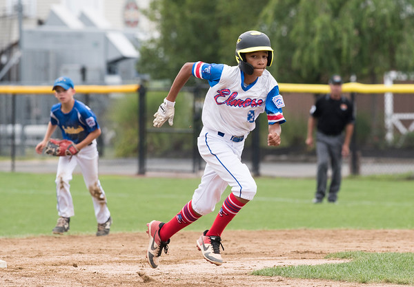 08/06/19 Wesley Bunnell | Staff New Jersey defeated Maryland in a Mid-Atlantic Little League tournament game on Tuesday afternoon at Breen Field in Bristol. New Jersey's Jayden Capindica (8) watches the ball while advancing from second base.