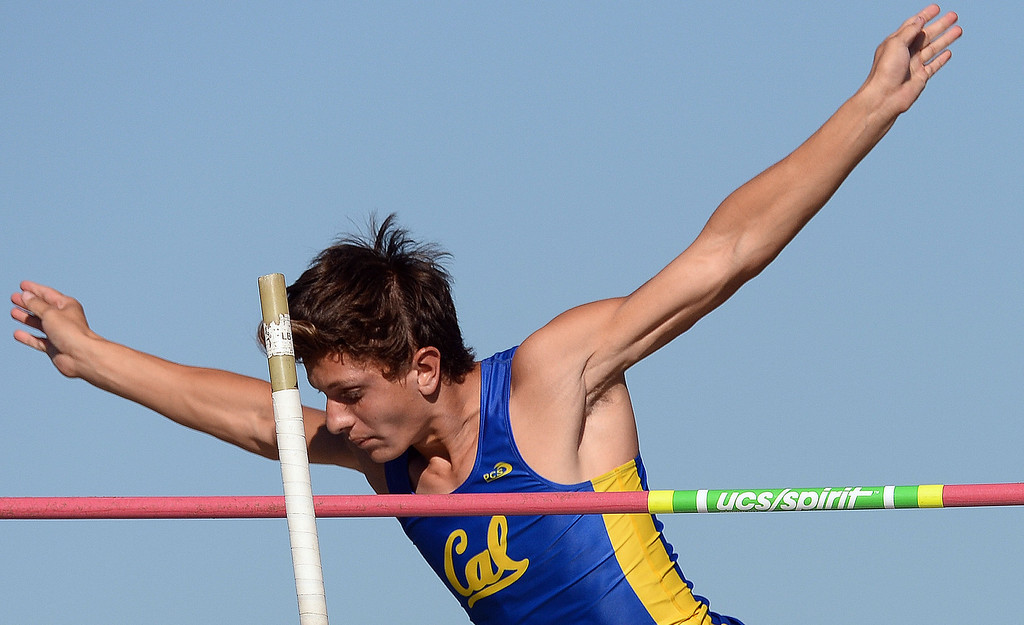 . California\'s Jorge Zapien competes in the pole vault during the Arcadia Invitational track and field meet at Arcadia High School in Arcadia, Calif., on Friday, April 11, 2014.  (Keith Birmingham Pasadena Star-News)