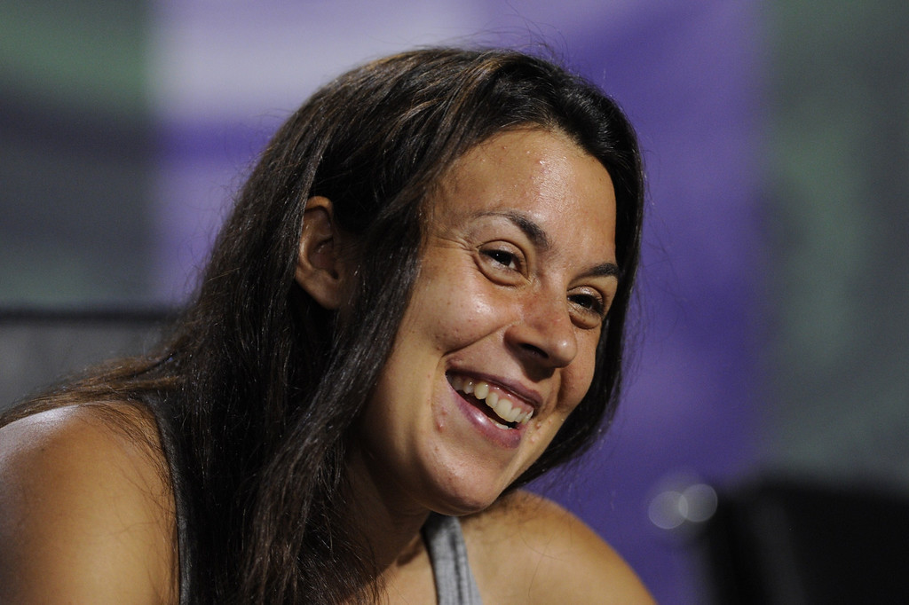 . France\'s Marion Bartoli speaks during a press conference after defeating Germany\'s Sabine Lisicki to win the women\'s singles final on day twelve of the 2013 Wimbledon Championships tennis tournament at the All England Club in Wimbledon, southwest London, on July 6, 2013. Bartoli won 6-1, 6-4.  AFP/Getty Images