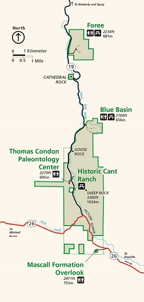 John Day Fossil Beds National Monument (Sheep Rock Unit - Trail Map)