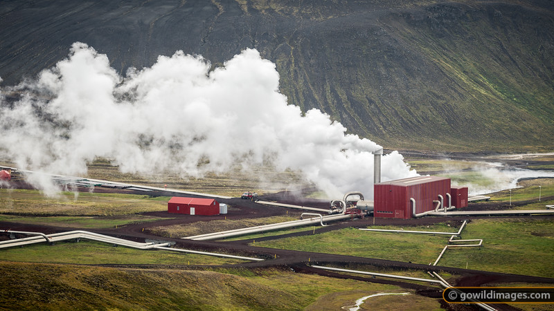 A geothermal powerplant near Krafla in the North East