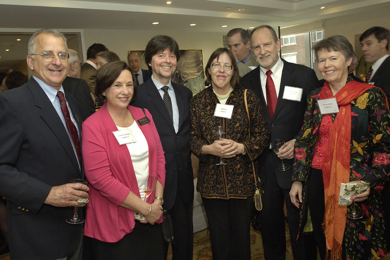 Ken Burns, third from left, flanked by California members Davie and Jennifer Piña, Juliet and Tom Gede, and Lynn Trowbridge.