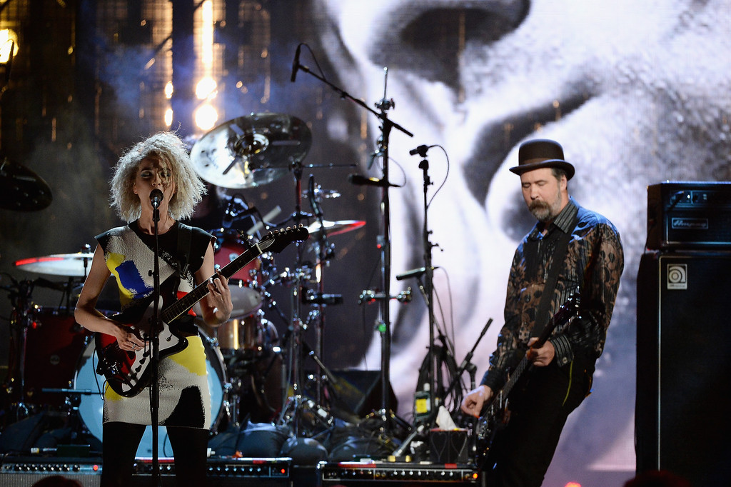 . Musican St. Vincent (L) and Krist Novoselic perform onstage at the 29th Annual Rock And Roll Hall Of Fame Induction Ceremony at Barclays Center of Brooklyn on April 10, 2014 in New York City.  (Photo by Larry Busacca/Getty Images)