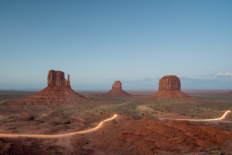 Monument Valley Navajo Tribal Park - Sunset With Traffic