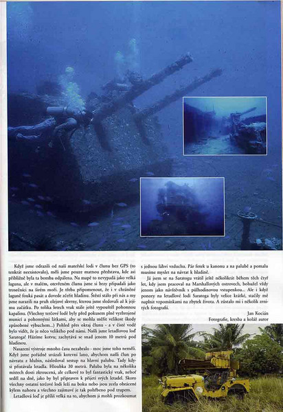 "Czech Dive magazine ""Dobra Voda"", Fall 2008 issue. Article and photos about diving Bikini Atoll. pg. 2"