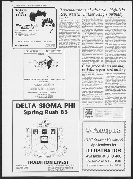 Daily Trojan, Vol. 98, No. 2, January 14, 1985