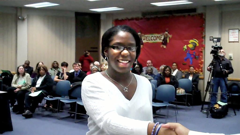 """. Pontiac High School junior LaTrevia Myles, won the teen mystery short story first place award for her story \""""Fatal Obsession\"""" in the Elmore Leonard Literary Arts and Film Festival in Birmingham"""