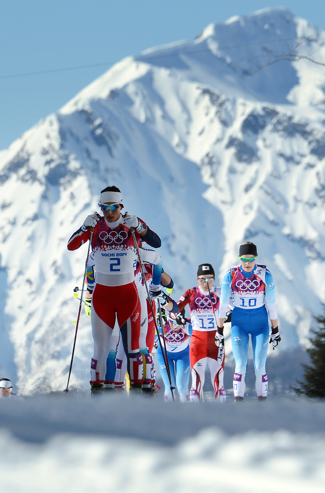 . Norway\'s Marit Bjoergen competes in the Women\'s Cross-Country Skiing 7,5km + 7,5km Skiathlon at the Laura Cross-Country Ski and Biathlon Center during the Sochi Winter Olympics on February 8, 2014 in Rosa Khutor.    (KIRILL KUDRYAVTSEV/AFP/Getty Images)
