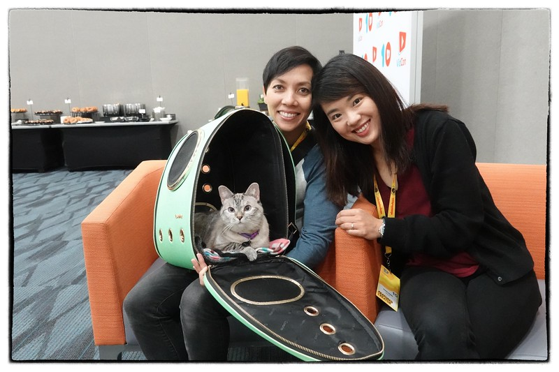Shannon Ellis and Pookie, the co-owners of Nala, the most popular cat on Instagram, with over 4 million followers, in the press room at VidCon.