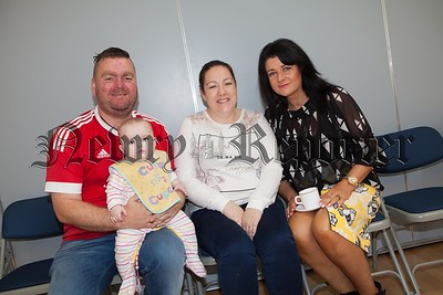 Tommy and Karen Haughey pictured with baby Anna Jorga and Siobhan Burns. R1638004