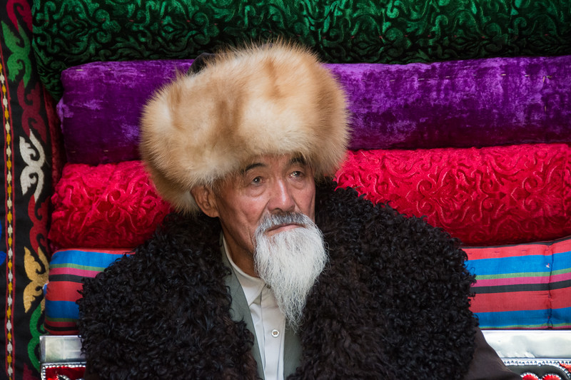 Kyrgyz Elder in a Yurt - Kyrchyn Cultural Festival, Kyrgyzstan