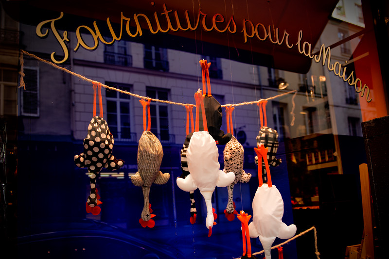 Whimsical store window on Île Saint-Louis