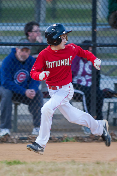 John hits an infield home run to put the Nats in the lead 2-0 in the bottom of the 1st inning. The Nationals won their second game in a row to start the season with an 11-0 victory over the Twins. 2012 Arlington Little League Baseball, Majors Division. Nationals vs Twins (19 Apr 2012) (Image taken by Patrick R. Kane on 19 Apr 2012 with Canon EOS-1D Mark III at ISO 1600, f2.8, 1/320 sec and 300mm)