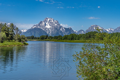 Summer day with blue sky at Oxbow Bend