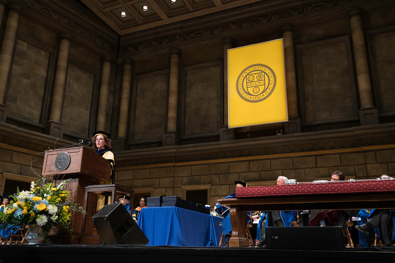 Karen K. Davis, Associate Vice President and Chief Nurse Executive, University of Rochester Medicine delivers the Commencement Address. // University of Rochester School of Nursing Commencement, Kodak Hall at Eastman Theatre May 17, 2019.  // photo by J. Adam Fenster / University of Rochester