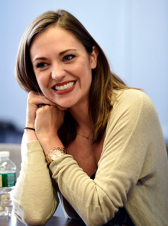 7/11/2019 Mike Orazzi | Staff Broadway and film actress Laura Osnes while at St. Paul Catholic High School on Thursday.