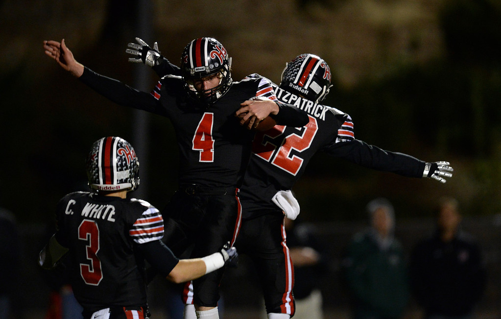. Hart�s Trent Irwin #4 celebrates a touchdown catch during their CIF Northern Division playoff game against Palos Verdes at College of the Canyons in Santa Clarita Friday November 22, 2013. (Photos by Hans Gutknecht/Los Angeles Daily News)