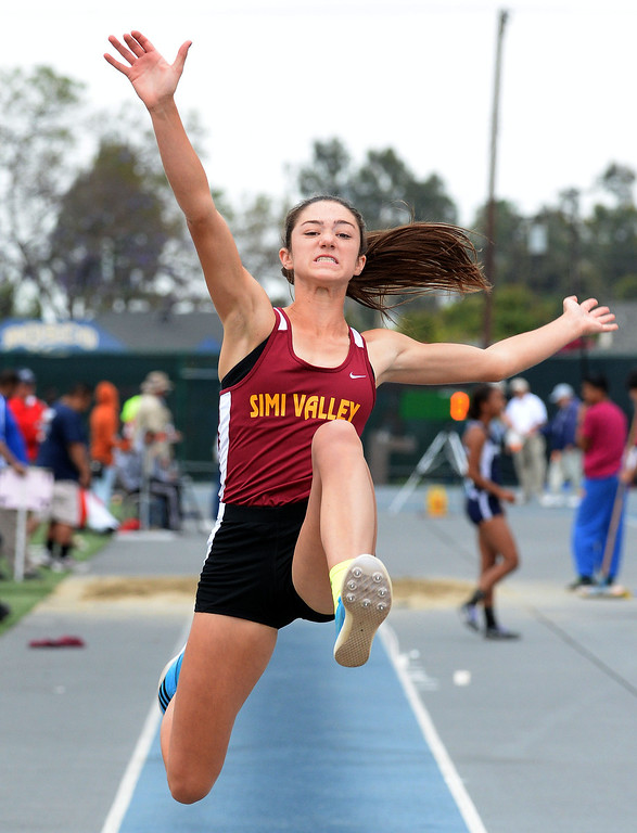 . Simi Valley\'s Madisen Richards competes in the Division 2 long jump during the CIF Southern Section track and final Championships at Cerritos College in Norwalk, Calif., on Saturday, May 24, 2014.   (Keith Birmingham/Pasadena Star-News)